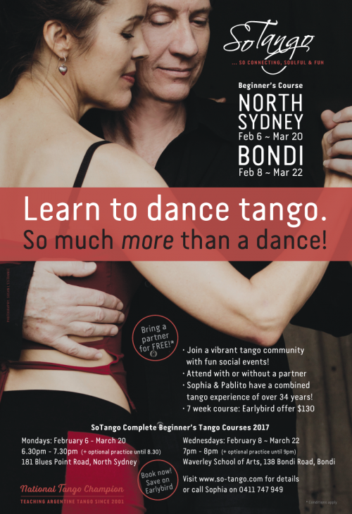 So Tango poster: beginners course starts 6 February 2017